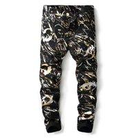 mens yeni moda kot siyah toptan satış-Yeni Varış Erkekler Rahat Geometrik Baskılı Kot Pantolon Erkek Graffiti Baskı Siyah Hip-Hop Moda Jean Slim Fit Pantolon Boyutu 29-38