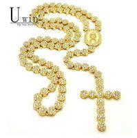 bling kreuzt großhandel-UWIN Iced Out Rosenkranz Blume Halskette Link Bling AAA Strass Gold Kreuz Jesus Kopf Anhänger Mens Hip Hop Halskette Kette