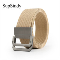 meilleurs ceintures hommes achat en gros de-SupSindy menwomen toile ceinture alliage boucle Double anneau ceinture en nylon armée ceintures tactiques pour hommes meilleure qualité sangle masculine