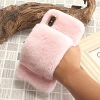 Wholesale rabbit phone case cover online – custom Fashion Warm Fur Soft TPU Case For iPhone XR XS MAX X S Plus Hair Plush Velvet Bling Diamond Rabbit Fur Fluffy Fuzzy Phone Cover