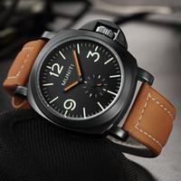 роскошные часы для мужского черного лица оптовых-Top  Men's Quartz Men Whatch Analog Display Leather Creative Wrist Watches Luminous relogio masculino Black Face