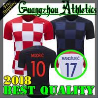 Wholesale Ripped Shorts For Men - 2018 Designed for Croatia home Soccer Jersey MODRIC PERISIC RAKITIC MANDZUKIC SRNA KOVACIC Red KALINIC Hrvatska Football Shirt