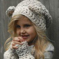 4fccc13329b36 Kids Bear Ear Hat Autumn Winter Christmas Cute Baby Girls Bear Braid Cap  Bear Knitted Cap With Warm Gloves For Children Gift