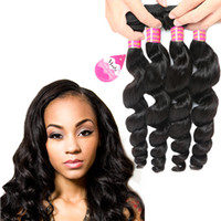 Wholesale hair waves online online - Cheap A Brazilian Loose Wave Virgin Hair Extensions Bundles Peruvian Unprocessed Virgin Human Hair Weave Bundles Price Online