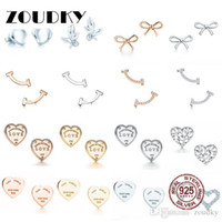 Wholesale flower shaped earrings studs for sale - Group buy DORAPANG Sterling Silver Classic Sign Heart Shaped Stud Earrings Bow Stud Earrings Smile Earring Rose Gold Gold Gift