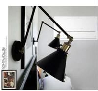 Wholesale vintage industrial wall lamp resale online - Industrial Vintage Wall Lamps Simple style Wall Lights LOFT Little Umbrella Double Arm Bedside Lamp Restaurant Light Fixtures
