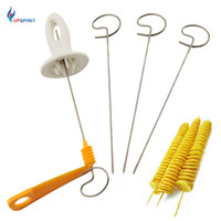Wholesale vegetable potato chips - Upspirit Spiral Potato Slicer Cutter Fruit Vegetable Chip Stainless Steel +Plastic Kitchen Tool Cutting Potatoes Cooking Tools