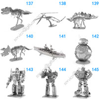 Wholesale 168 Designs Metal D puzzles Toys model DIY Aircraft Cars Tanks Fighter Planes D Metallic Nano building puzzle for Adults and Kids