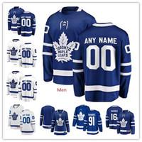 buz hokeyi formalarını gençler toptan satış-Özel Toronto Maple Leafs 91 John Tavares Auston Matthews herhangi bir isim numarası kişiselleştirilmiş formaları erkek kadın gençlik buz Hokeyi dikişli Jersey