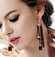 boucles d'oreilles en dentelle noire achat en gros de-nouvelle coréenne chaude boucles d'oreilles en dentelle noire fille cristal ruban personnalité mode gland boucles d'oreilles mode classique élégant