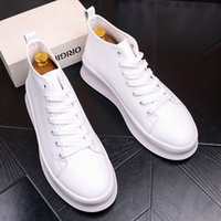 Wholesale Thick Sole Platform - Super Fashion Men Shoes Casual Men Sneakers White Men Short Boots Lace-up Thick Sole All Match Ankle Boots, EU38-44!