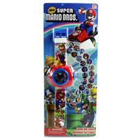 projecteurs pour enfants achat en gros de-Anime Cartoon Super Mario Bros Montre Projecteur 20 Style Figurines Action Fête D'anniversaire Kid Cadeau Jouet avec Boîte d'origine