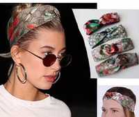 Wholesale silk flower gifts - 100% Silk Front Knotted Headband Fashion Luxury Brand Bloom Flower Bird Elastic Hairband For Women Girl Retro Floral Turban Headwraps Gifts