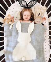 büyük bebek örtüleri toptan satış-2018 Bahar Yeni Bebek Yürüyor Yatak Örme Bebek Battaniye Sarma Yumuşak Battaniye Yenidoğan Büyük Tavşan Kulak Kundaklama Çocuk Kız Battaniye