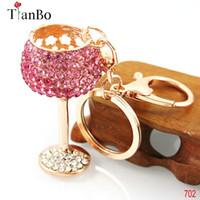 брелок для ключей оптовых-TianBo fashion wine glass Crystal HandBag Pendant Keyrings Keychains For Car Key rings key chains holder women