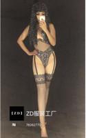 macacão preto e preto venda por atacado-3D impresso strass rendas sem mangas apertado sexy preto body jumpsuit boate bar cantor traje da festa de festa de aniversário