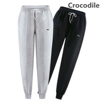 Wholesale Military Pants Black - High quality New men pants Fitness Crocodile Embroidery Casual Elastic Pants bodybuilding clothing casual military sweatpants joggers pants