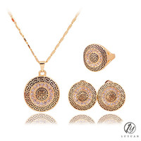 ingrosso collane di perline africane-Classico cristallo disc pendente orecchini collana set moda rotonda in metallo dubai arabo africano perline set di gioielli in cristallo 20%
