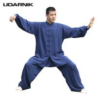 kung fu calça algodão venda por atacado-Estilo chinês Kung Fu Wing Chun Conjuntos de Homens de Algodão de Duas Peças Terno Tai Chi Uniforme de Manga Comprida Top Calças 223-252