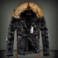 eski tül toptan satış-Erkek Kot Ceket Ile Kürk Yaka Retro Yırtık Polar Kot Ceket Ve Ceket Sonbahar Kış için