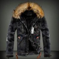 Mens Denim Jacke mit Pelzkragen Retro Riss Fleece Jeans Jacke und Mantel für den Herbst Winter