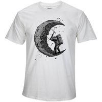 Wholesale moon shirt for sale - 100 cotton digging the moon print casual mens o neck t shirts fashion men s tops men T shirt short sleeve men tshirt