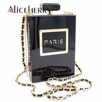 акриловые бутылки для духов оптовых-Vintage Fashion Women Bag Paris Perfume Bottle Acrylic Clutch Purse Handbag Cross Body Messenger Bag Casual Ladies Shoulder Bags