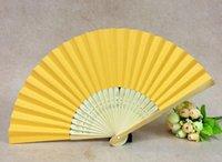 abanicos de papel amarillo al por mayor-abanicos de bambú amarillo profundo plegable abanicos de papel ventilador plegado de papel para el banquete de boda y la decoración del hogar abanicos de papel hechos a mano partido favor 005