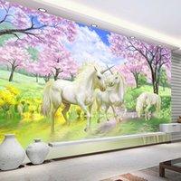 ingrosso murales di carta da parati dei bambini-Sfondo Personalizzato Murale 3D Wallpaper Unicorn sogno Cherry Blossom TV parete Immagini per bambini in camera da letto Wallpaper Soggiorno