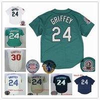 Wholesale Wrinkle Creams - 24 Jersey with Number Retirement & 2016 Hall Of Fame Patch 30# Green Cream Blue Teal Men Women size S-XXXL
