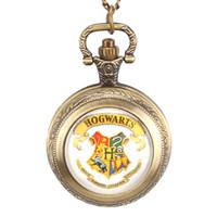 hogwarts taschenuhr groihandel-Beliebte Film Erweiterung Hogwarts Schule Symbol Design Glaskuppel Taschenuhr Männer Frauen Kinder