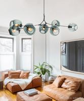 pendelleuchte baum großhandel-Nordic Art LED Glas Pendelleuchte Lindsey Adelman Kronleuchter Kitchen Magic Beans Tree Branch Suspension Hanging Light Fixtures