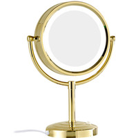 зеркальные стенды оптовых-GURUN 10x/1x Magnification  Mirror with LED Lights Double Side Round Crystal Glass Standing Mirror Gold Finish M2208DJ