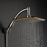 juegos de duchas de lujo al por mayor-Cabezal de ducha al por mayor-Cuadrado ABS Cromado Agua Lluvia Cabeza con brazo de extensión Juego de baño para baño Cabezal de ducha de lujo Mayitr