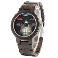 Wholesale cool skeleton watches - Cool Skeleton Skull Black Wood Watch Men's Nature Sandalwood Quartz Wristwatch Wooden Watch Band New Fashion Wristwatch for Mens Clock Gifts