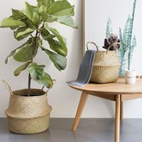 rattan garden sets al por mayor-Macetas de flores de rattan 2 unids / set ollas de vivero de piso Bonsai almacenamiento de ropa organizador de la cesta casa balcón decoración suministros de jardín