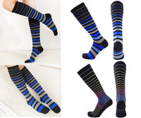 Wholesale wholesale rainbow socks - Compression Socks for Women Rainbow Line Travelers Anti-Fatigue Graduated Compression Knee High Socks Support FBA Drop Shipping G499S