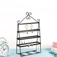 Wholesale wedding jewellery wholesale china - Shop Home Desk Unique Decoration Shelf Earrings Necklace Ornaments Hanger European Style Creative Metal Jewellery Rack New Arrival 25md Z