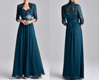 Wholesale capped sleeved dresses - Free Freight New Dresses Long Sleeved Evening Dresses Mother long Lace Chiffon Seven Minute Sleeves And Two Party Dresses HY1088