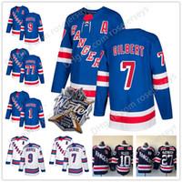 jersey phil esposito venda por atacado-New York Rangers # 9, Adam Graves, 7, Rod, Gilbert, 1, Eddie, Giacomin, 77, Phil Esposito, 8, Jacob, Trouba, Azul, Branco, Marinha, Retied, Jerseys