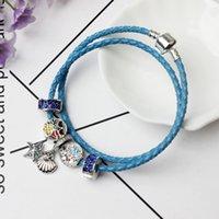 Wholesale Vintage Silver Snake Ring - Hot selling Leather rope hand chain Vintage Charm Bangle Bracelet Jewelry & Fashion European fit Pandora Bracelet women & men