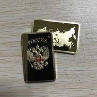 barra de ouro russa venda por atacado-100 Pcs The Collectible mapa russo lingote bar 1 OZ 24 K banhado a ouro genuíno distintivo 50x28mm Rússia moeda lembrança