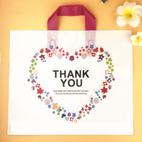 Wholesale gift plastic carrier bags - White Plastic Shopping Bag with Handle Carrier THANK YOU Heart Flower Print Boutique Packaging Wholesale ZA5854
