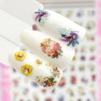 ingrosso adesivi nazionali di bandiera-Adesivo per unghie 3D WUF 1PC Bandiera nazionale / Fiore Nuovo cursore per la decorazione del manicure Consigli Decalcomanie adesive per unghie