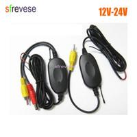moniteur de stationnement vidéo sans fil achat en gros de-2.4 Ghz sans fil émetteur vidéo RCA + récepteur kit pour voiture Reavering parking caméra de recul moniteur 12V-24V