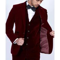 chaqueta de vino tinto hombres al por mayor-Trajes de hombres de terciopelo burdeos 3 piezas Blazer Tailor Made Wine Red Groom Prom Party Tuxedo Jacket Pants Vest Vest WH219