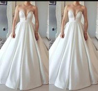 Wholesale line sweetheart satin wedding dress red online - Hot Sale White Satin Wedding Dresses Sexy Sweetheart Neck Lace Up Back Sweep Train Wedding Gowns For Bride