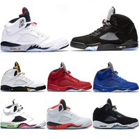 Wholesale men s leather - 2018 New Men 5 5s Basketball Shoes OG Triple s Black White Cement Red Blue suede Metallic Gold Sport Trainer Sneakers size 8-13
