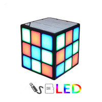 Wholesale Magic Cards Flash - New Gift Mini Magic Cube Colorful Wireless Portable Bluetooth Speaker LED Flash Light Support TF Card