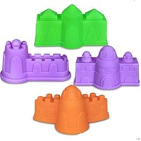 Wholesale toy castles for kids - 1set Castle Space Sand Mold House Sandcastle Model Environmental Plastic Plasticine Tool For Kids Intelligence toys Play Beach Clay 4tq Z